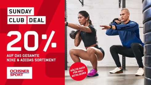 SUNDAY CLUB DEAL – 20% Rabatt auf Nike & adidas